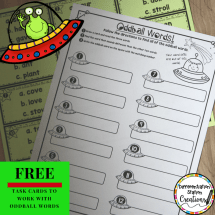 Free task cards to explore oddball words- inconsistent but common spelling sound correspondence.