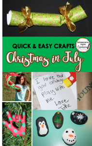 Quick and easy crafts for your Christmas in July celebrations. Bring the spirit of Christmas to the long, hot months of July!