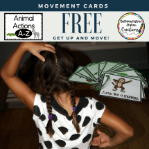 Get kids up and moving with free animal movement cards. Perfect for brain breaks and gross motor movements.