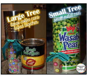 Create a magnetic Chicka Chicka Boom Boom tree out of metal cans and felt.