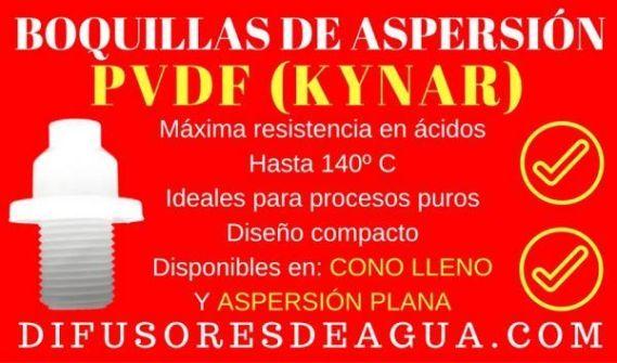 Boquillas de Aspersión - PVDF (Kynar) - Difusores de Agua - Spray Nozzles