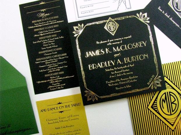 Art Deco Luxury Wedding Invitation Suite