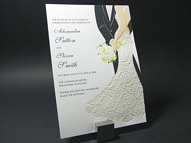 Letterpress Light Wedding Dress Formal Invitation