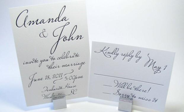 Custom Typography Pressed Wedding Invitation Digby Rose