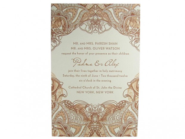Mehndi Letterpress Wedding Invitation Digby Amp Rose