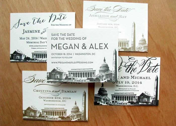 Washington Dc Save The Dates Letterpress Vine Monuments