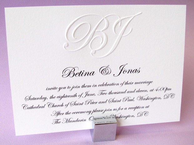 Wedding Invitation Blind Embossed