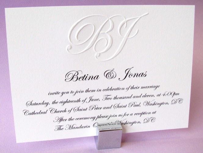 Crystal White Pebbles Embossed Wedding Invitations