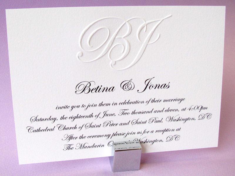 Custom Embossed Monogram Wedding Invitation