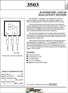 3503 datasheet  Ratiometric Linear Halleffect Sensors