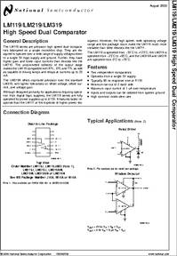 LM319 datasheet - High Speed Dual Comparator