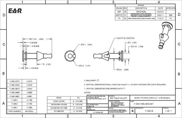 F-340-1 datasheet - Aearo Technologies' proprietary. highly damped ISODAMP™