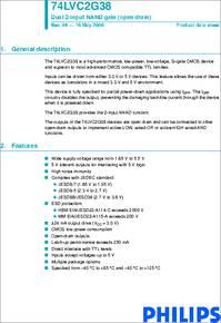 74LVC2G38 datasheet  Dual 2input NAND Gate open Drain