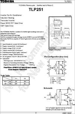 TLP251(F) Optoiso 2.5kv Gate Driver 8dip