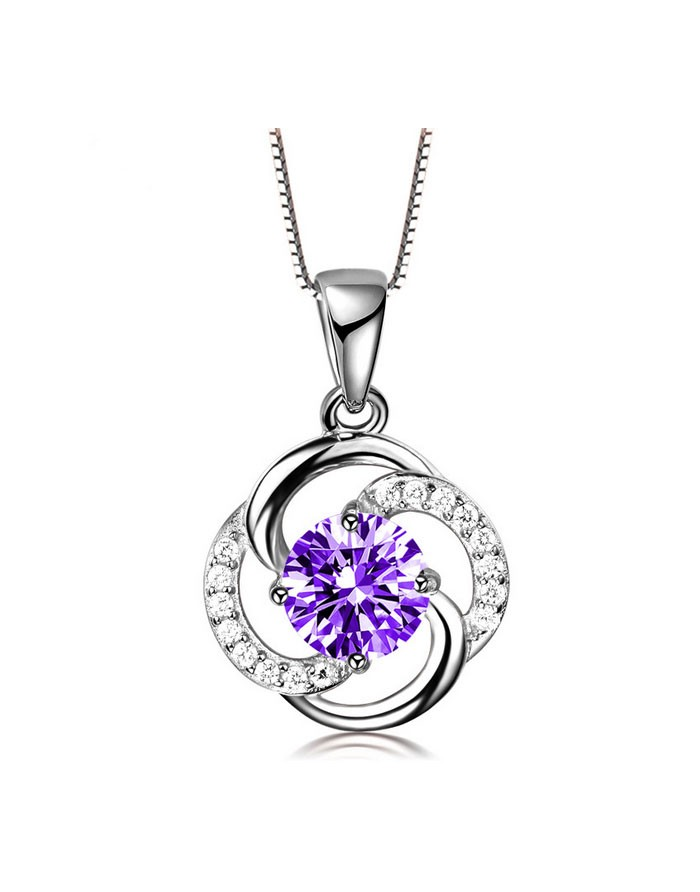 Sparkle Zircon Sterling Silver Love Knot Pendant for Necklace
