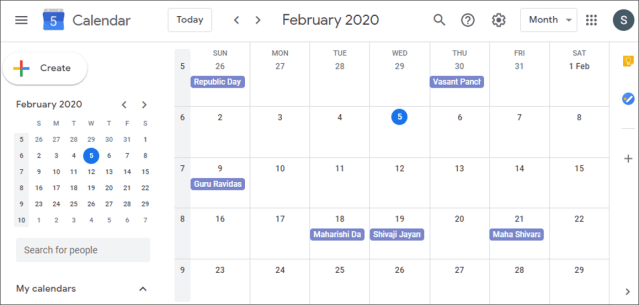 Week number shown in overview calendar on left pane and also on regular calendar in large pane.