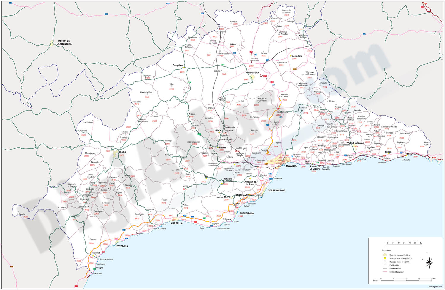 map of malaga province with