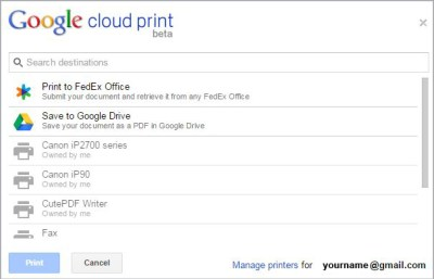 Registered Cloud Print Printers