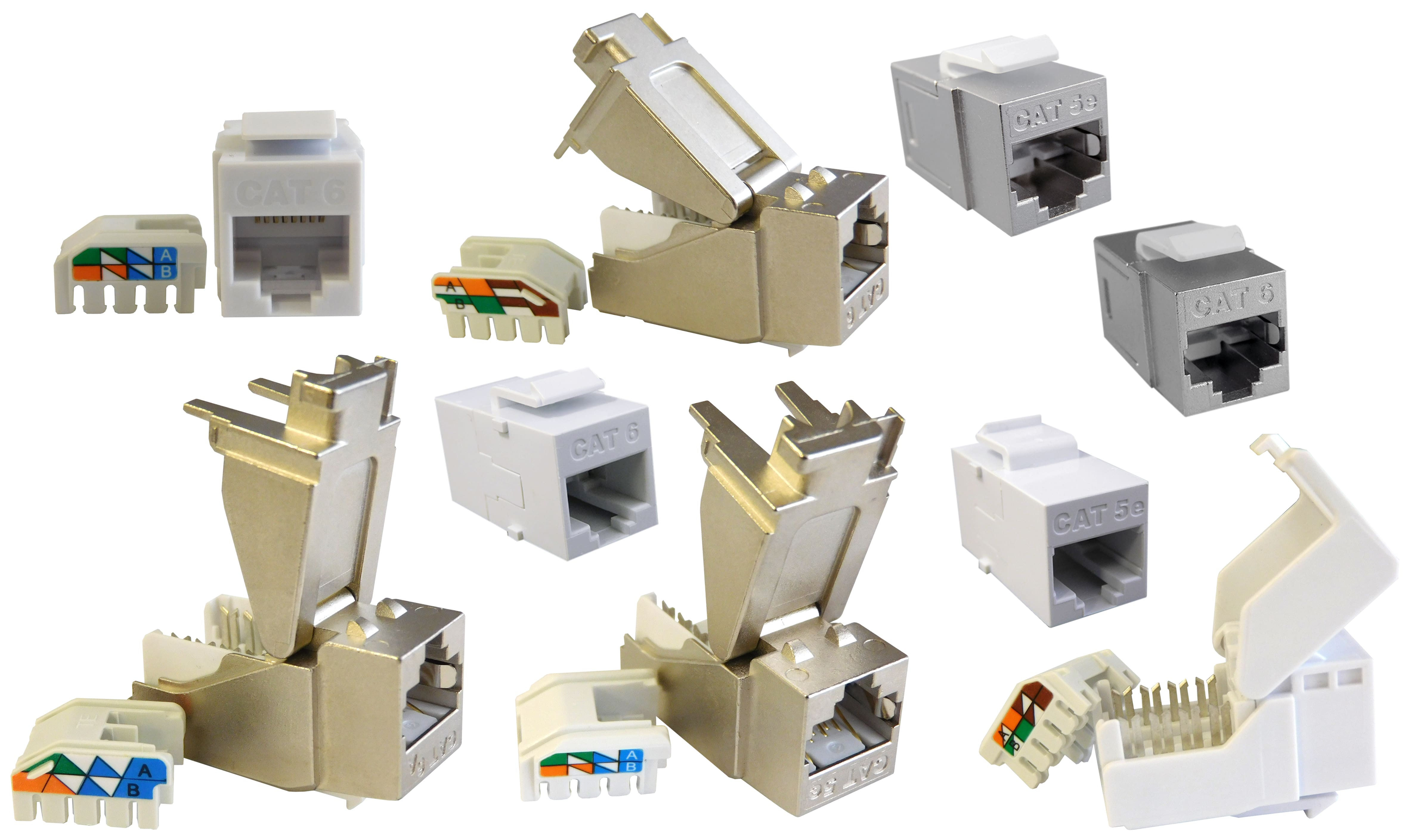 bel s cat5e cat6 and cat6a toolless plastic keystone jacks and couplers in shielded and unshielded configurations [ 4729 x 2818 Pixel ]
