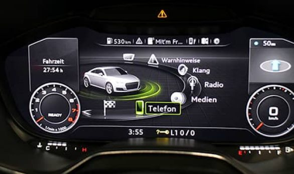 Image of customizable instrument clusters that use 2D and 3D graphics