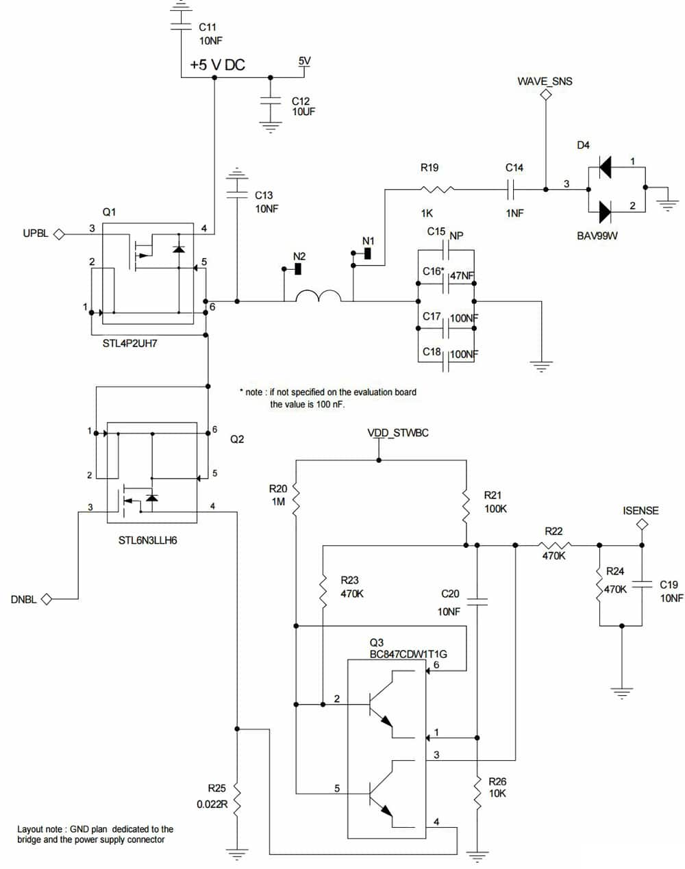 medium resolution of diagram of half bridge topology for the stmicroelectronics stwbc wa transmitter click for