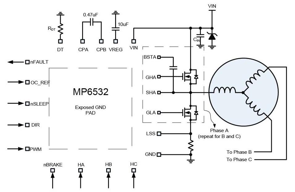 3 phase brushless motor pre driver