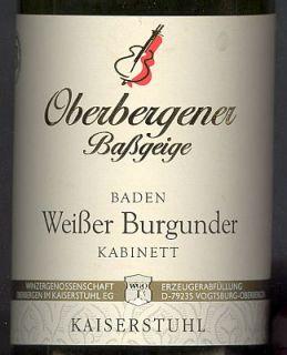 Weißer Burgunder Oberbergener Baßgeige, Baden, Kabinett