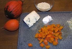 Zutaten für Kürbisrisotto mit Gorgonzolasoße