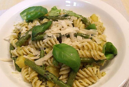 Foto: Ligurische Pasta (mit grünen Bohnen Kartoffeln und Pesto)