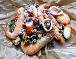 Meeresfrüchte aus dem Ofen