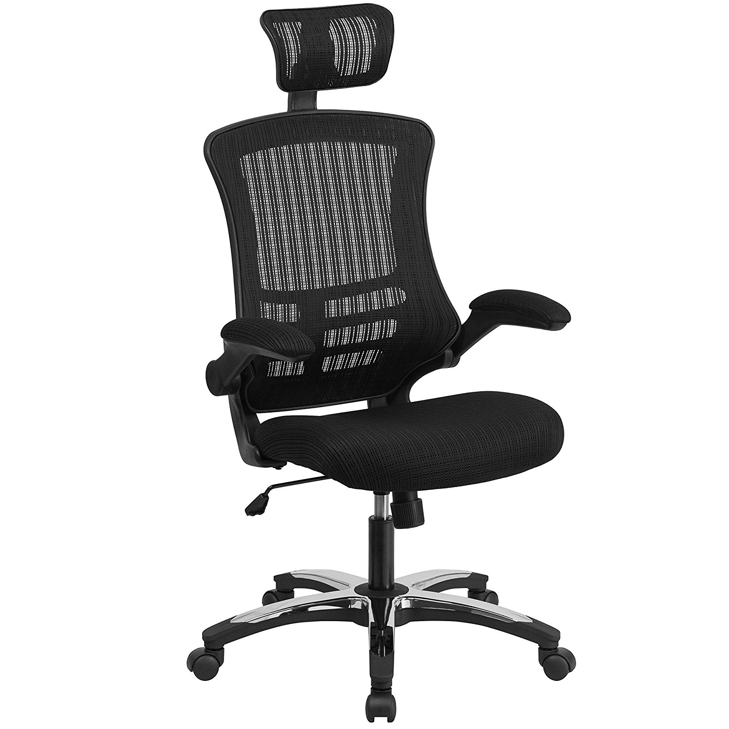 swivel chair vr roll back parson slipcovers flash furniture high black mesh executive