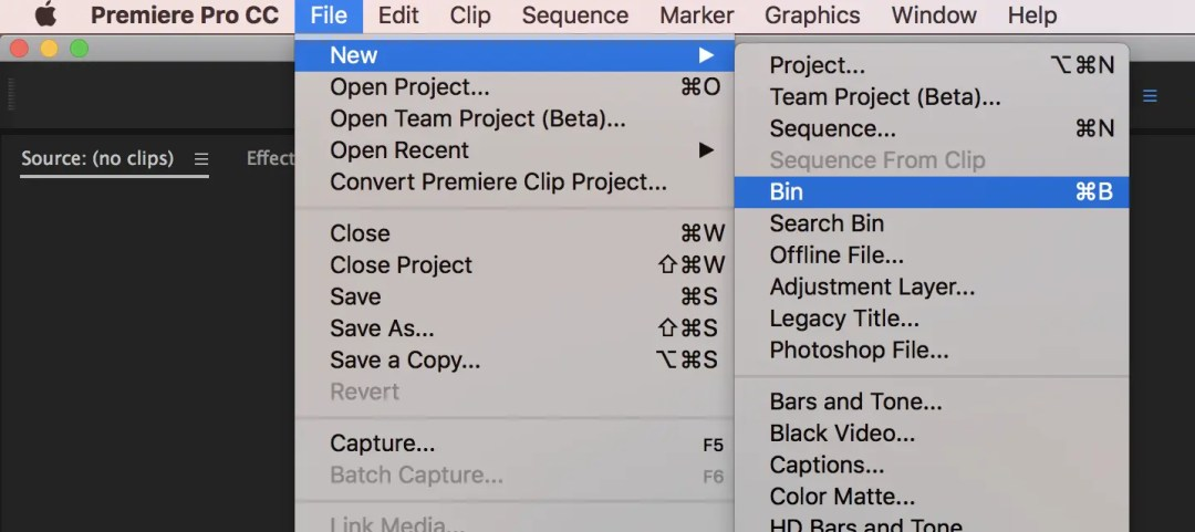 Adobe Premiere Pro File New Bin