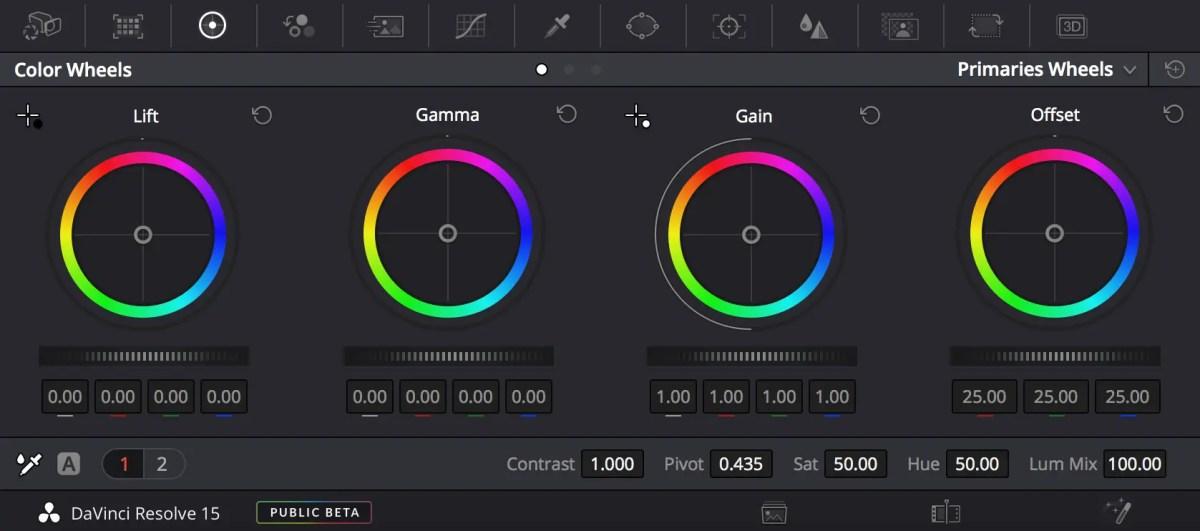 DaVinci Resolve Colour Wheels