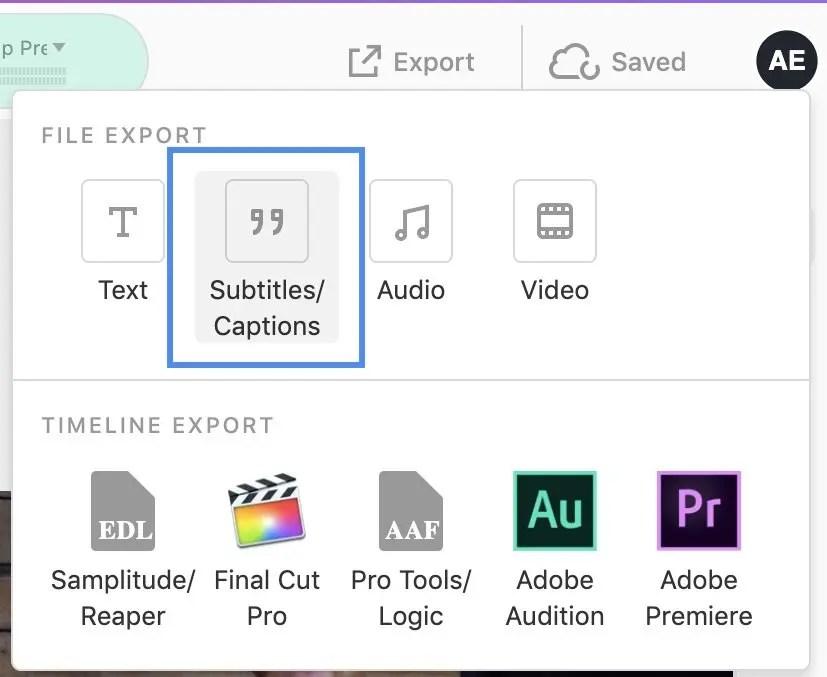 Descript Export Subtitles:Captions