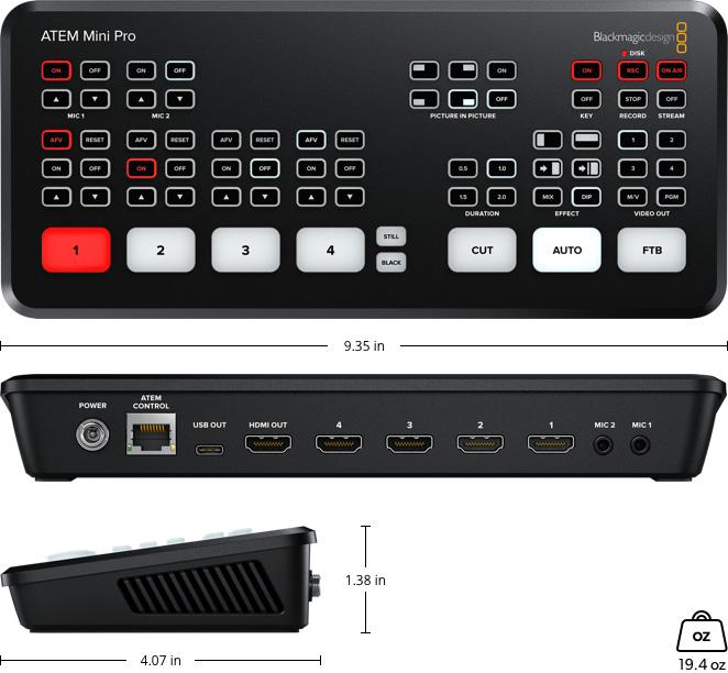 ATEM Mini Pro Specs - live video switcher