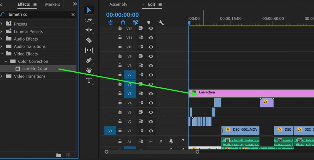 add effect adjustment layer premiere