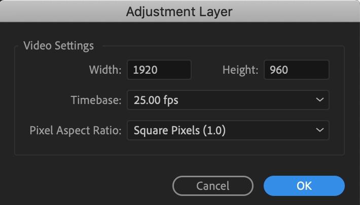 New adjustment layer dialog box premiere pro