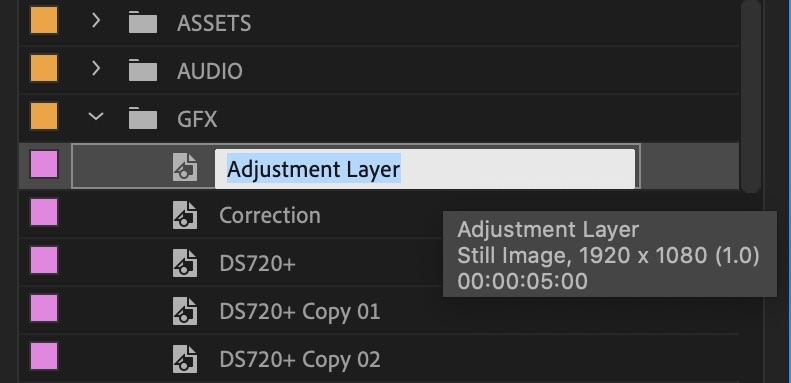 Rename adjustment layer premiere pro