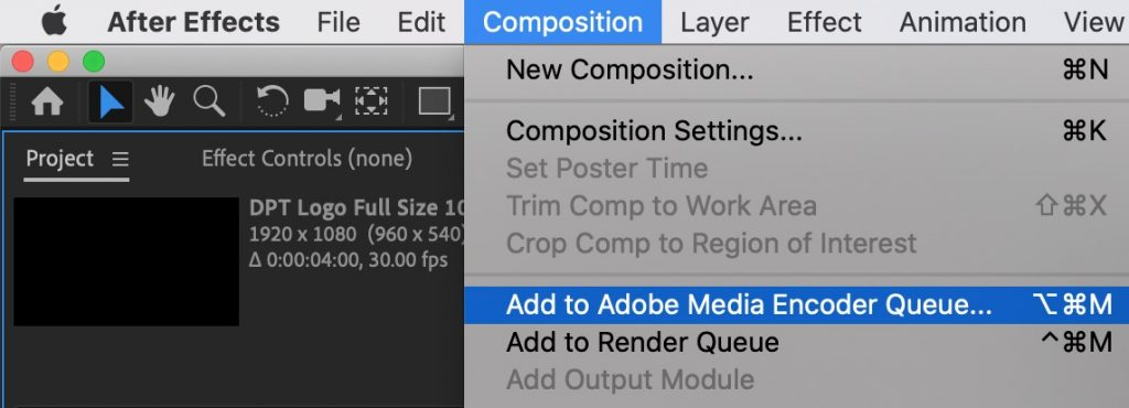 After Effects Add to Media Encoder Queue - how to export after effects to mp4