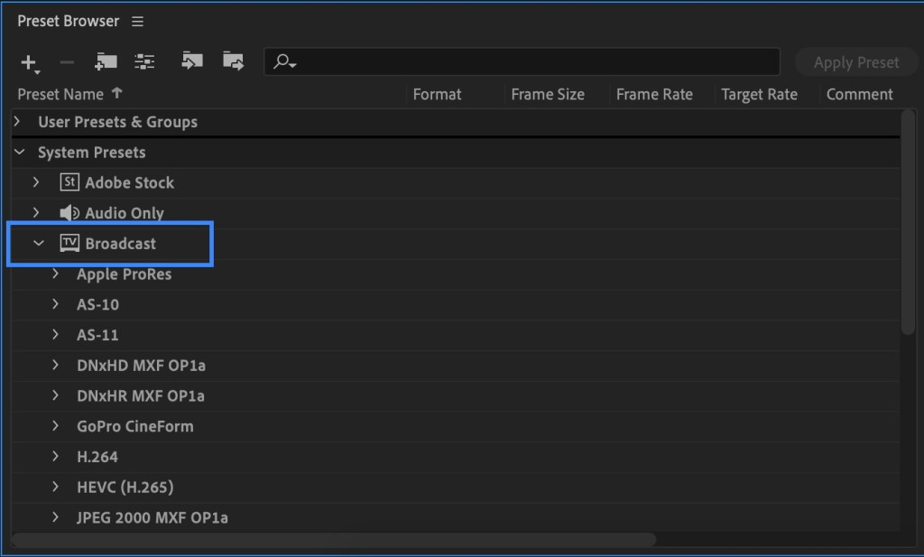 Broadcast Media Encoder Format - how to export after effects to mp4