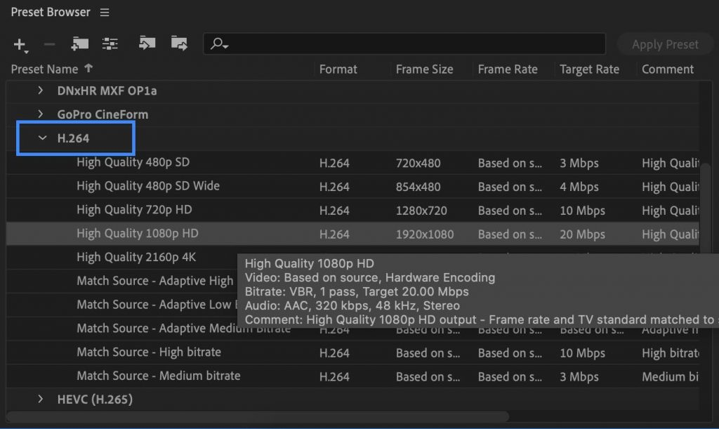 H264 Media Encoder Preset - how to export after effects to mp4