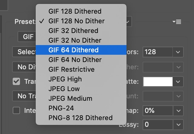 Photoshop GIF Export Dither Options - After Effects