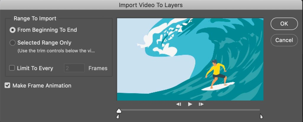 Photoshop Import Video File Dialogue Box - After Effects Export GIF
