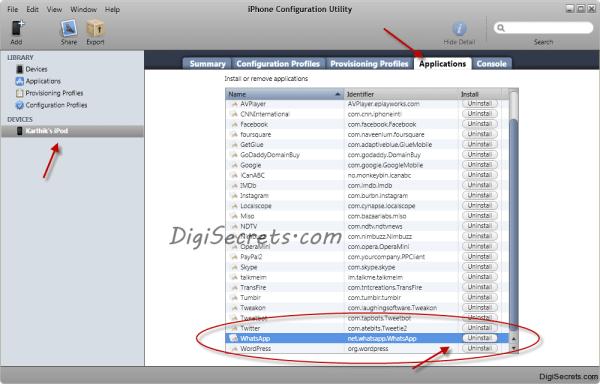 iPhone Configuration Utility - App Uninstall