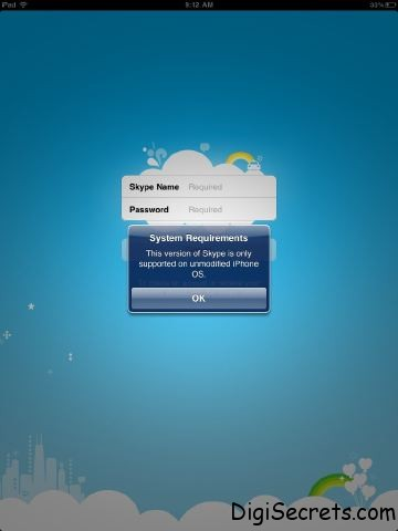 iPad Skype Jailbreak Error