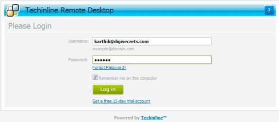 Techinline Remote Desktop - Login