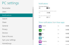 How To Enable Turn On Disable Turn Off Notifications In Windows 8
