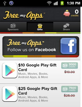 Freemyapps - Android - google play gift card coupons