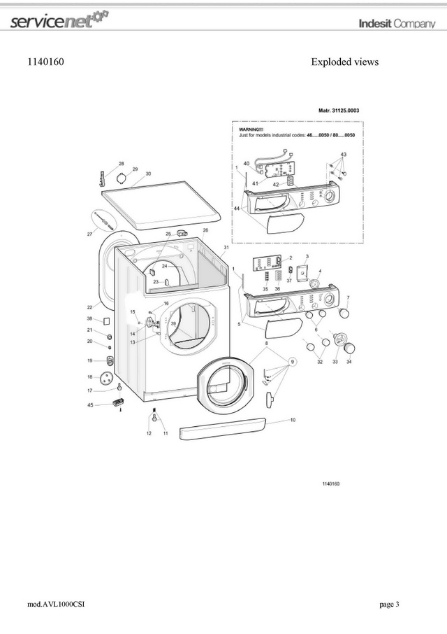 Buy Service manual washing machine Ariston AVL 1000 and