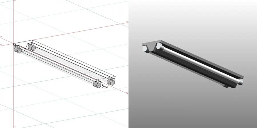 formZ 3D インテリア 照明器具 lighting equipment ベースライト 蛍光灯 富士型